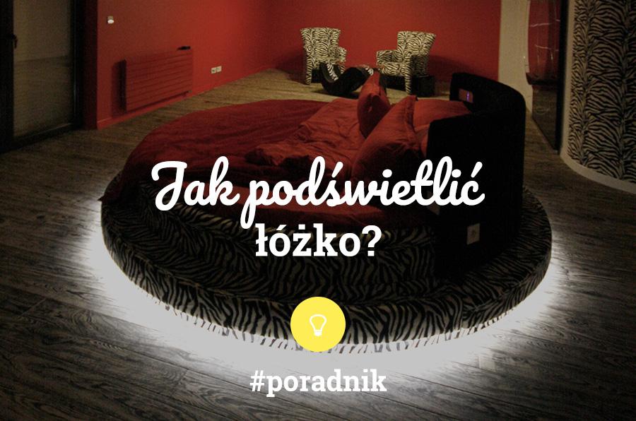 Jak podświetlić łóżko? Poradnik. Napis na tle zdjęcia okrągłego łóżka w czerwonej sypialni
