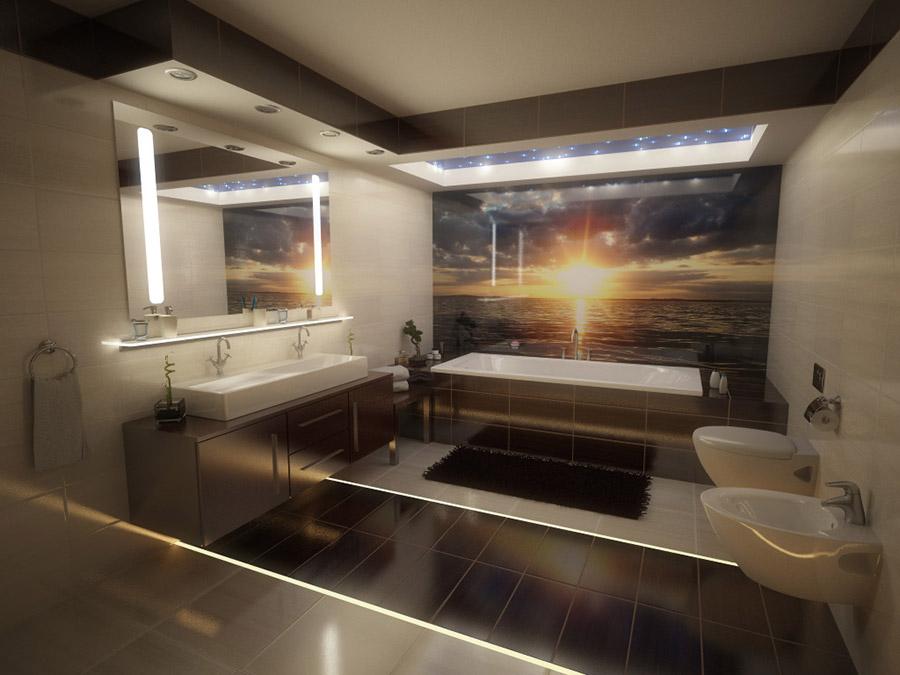łazienka z podświetlonymi fugami