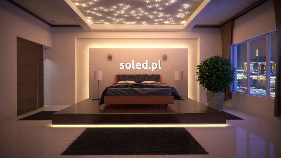 Podświetlenie LED łóżka w nowoczesnej sypialni, na wizualizacji widoczne łóżko stojące na podświetlonym podeście, za nim wnęka podświetlona, a nad łóżkiem gwiezdne niebo na suficie
