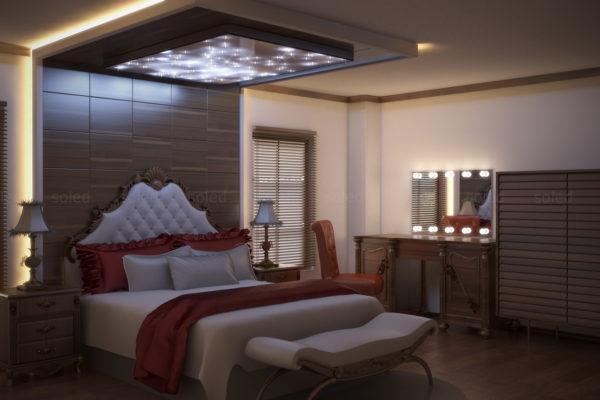 Nowoczesne lustro z żarówkami w sypialni