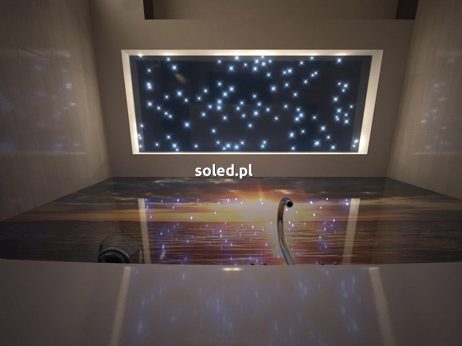 wizualizacja gwiezdnego nieba na suficie w łazience