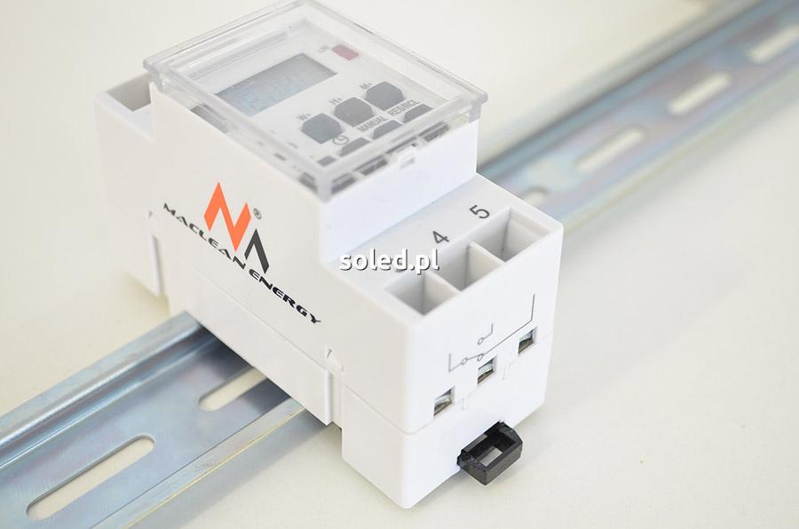 sterownik led - timer - programator cyfrowy umieszczony na szynie