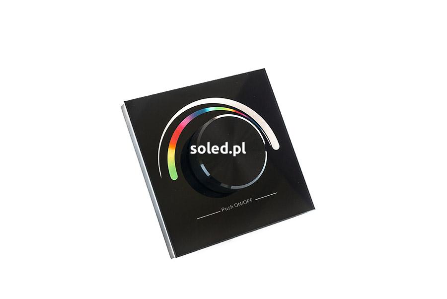 sterownik RGB naścienny z fizycznym, okrągłym pokrętłem