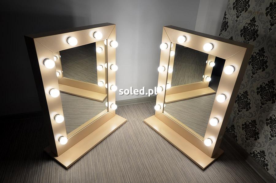 dwa lustra dla makijażystów - model make up stand w kolorze latte