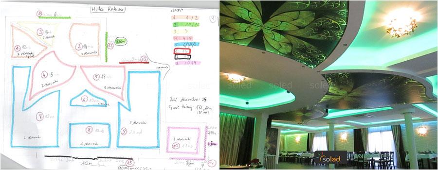 Odręczny projekt i efekt oświetlenia sali weselnej