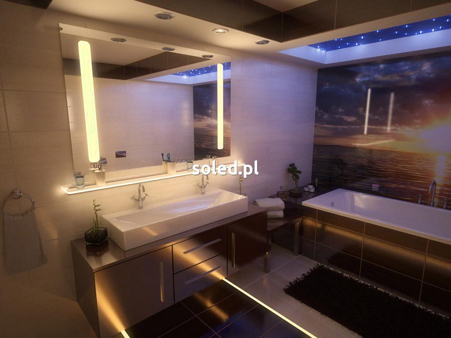 lustro łazienkowe LED ciepłe, pod lustrem półka szklana LED, na podłodze oświetlone fugi