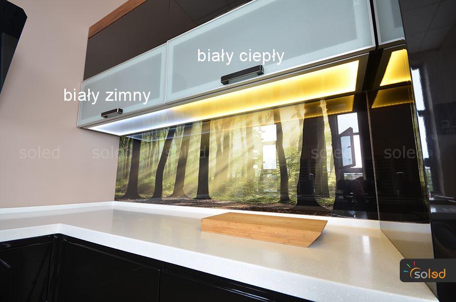 szklany wieniec kuchenny led z kolorem białym ciepłym oraz zimnym