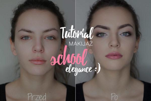 tutorial makijaż school elegance - napis na tle efektu przed i po, widoczna twarz modelki bez i z makijażem