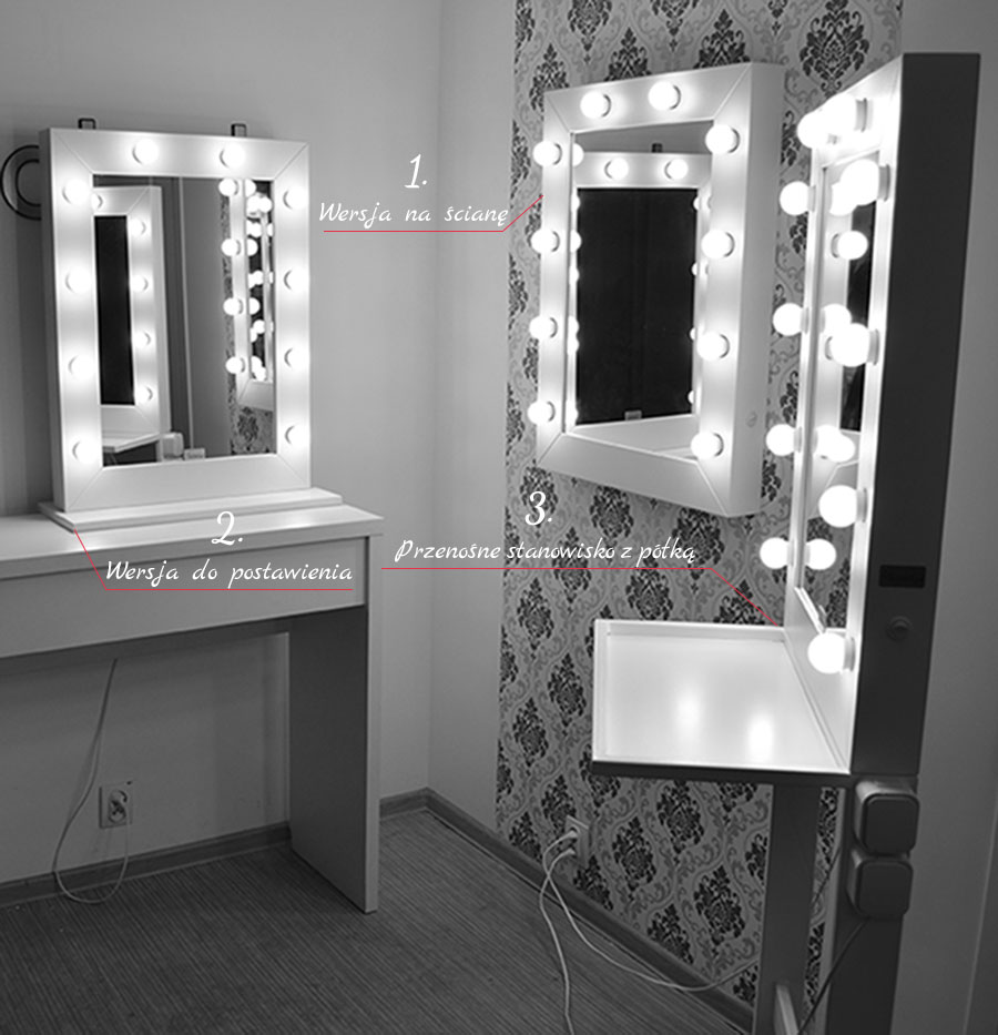 stanowisko beauty makeup mirror 3w1