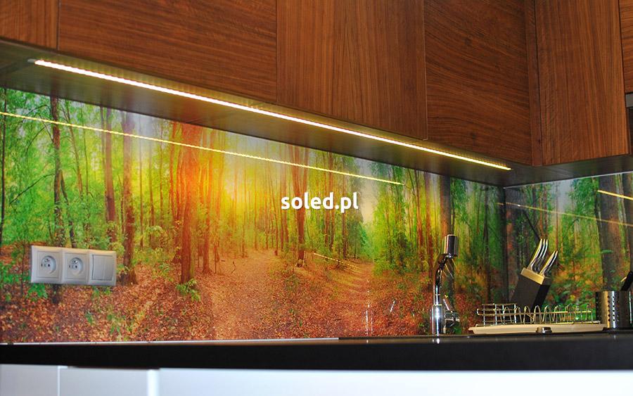 realizacja kuchni z taśmą LED białą ciepłą pasującą do drewnianych szafek
