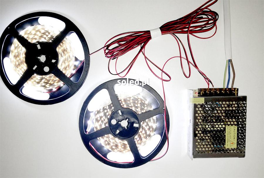 połączenie długich odcinków taśmy LED do zasilania