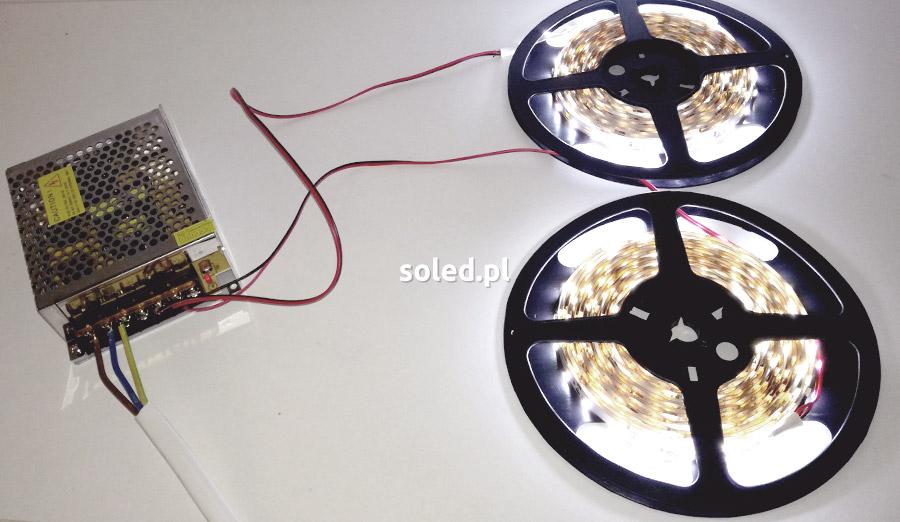 połączenie dwóch odcinków taśmy LED do zasilacza