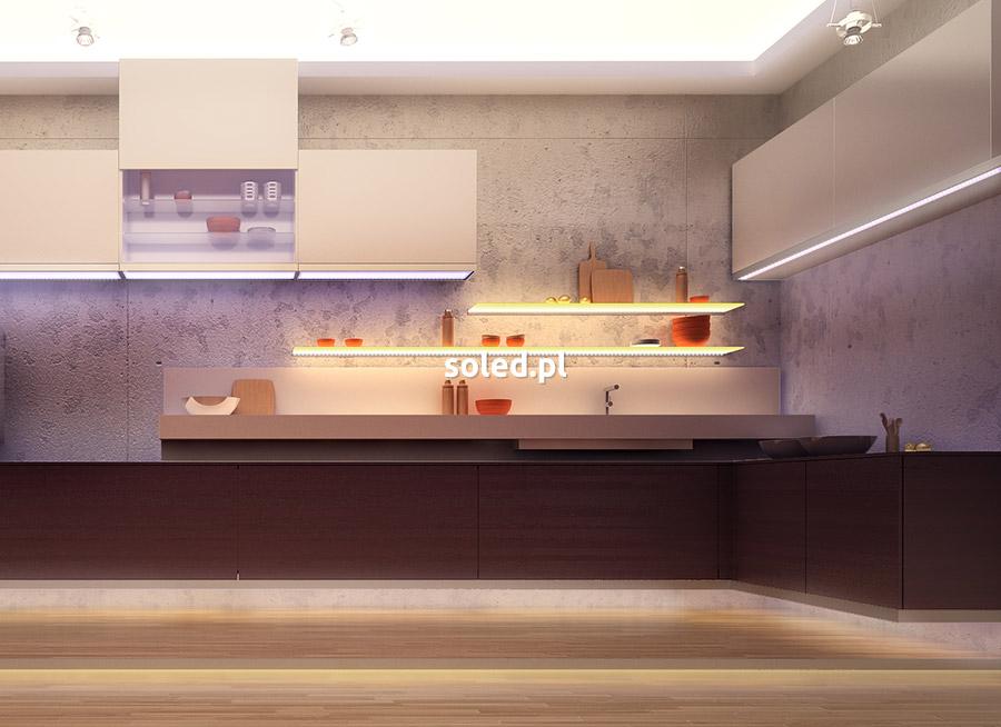 fotografia prezentująca kuchnię z oświetleniem LED obrazuje treść artykułu - jaka taśma LED do kuchni