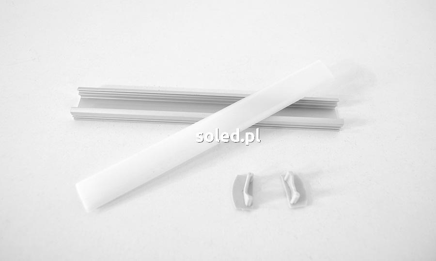 profil LED rozłożony na na części: profil aluminiowy, osłonka mleczna, zaślepki