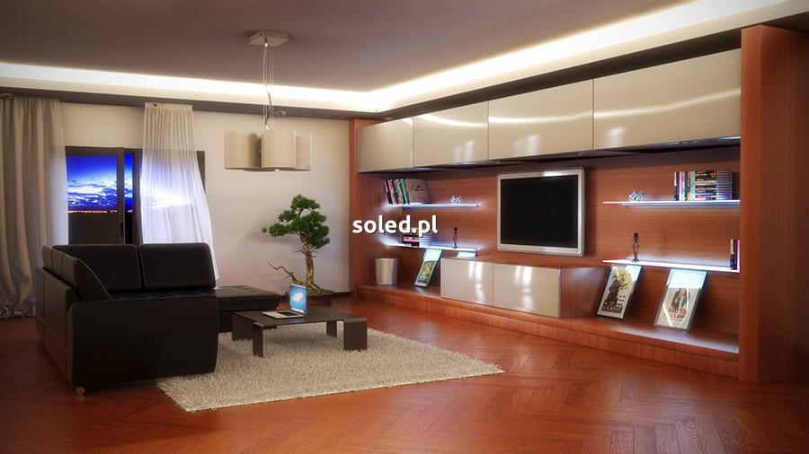 taśma LED biała w salonie - wizualizacja nowoczesnego pomieszczenia z kącikiem telewizyjnym i wypoczynkiem