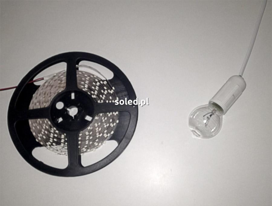 taśma LED i żarówka tradycyjna użyte do testu temperatury nagrzewania