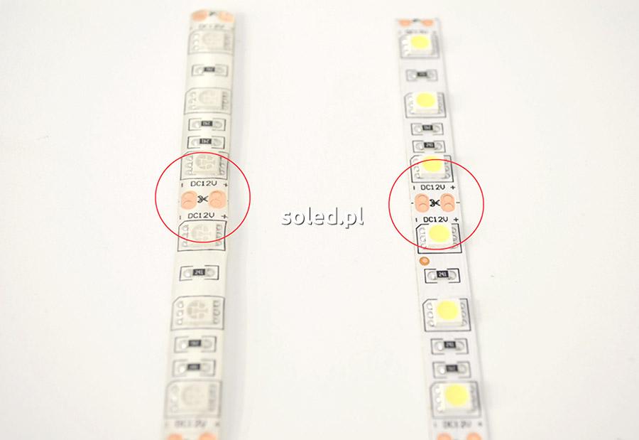 Punkty cięcia taśmy LED