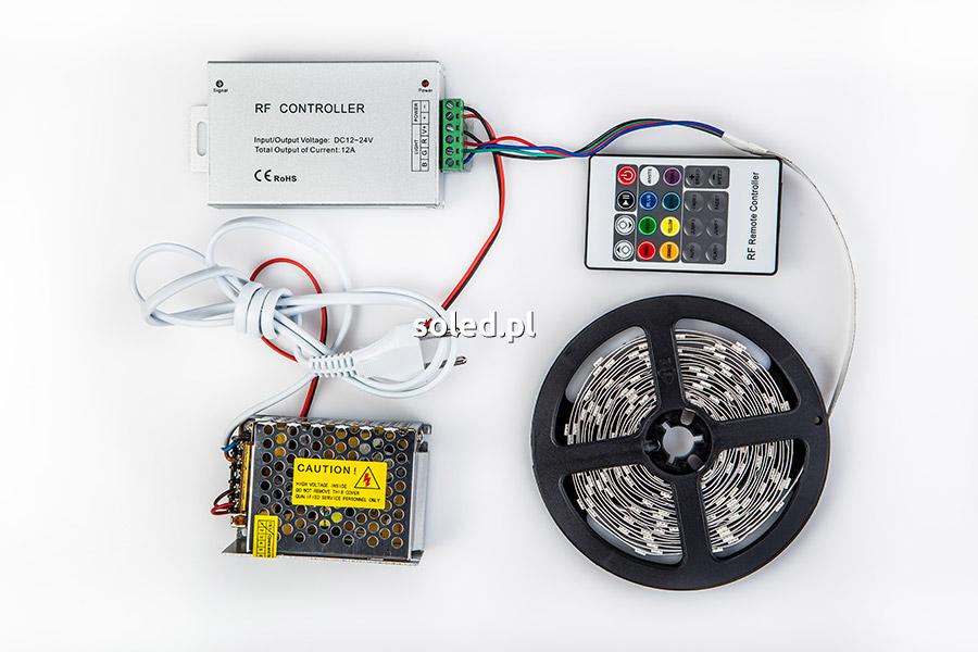 taśma LED RGB ze sterownikiem RGB i pilotem radiowym oraz zasilaczem POS